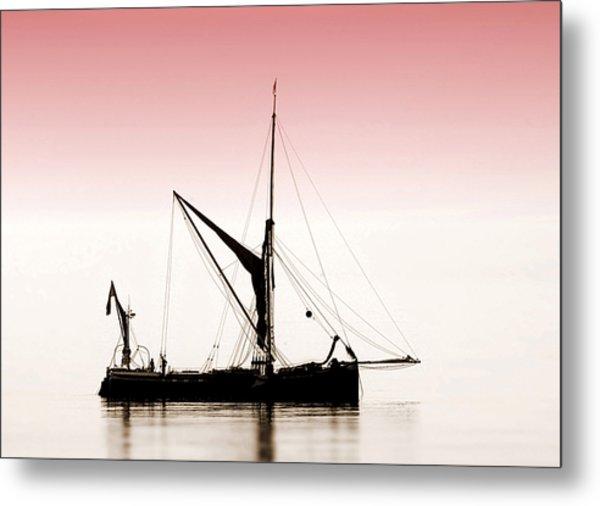 Coble Sailing  Against Pint Sky Metal Print