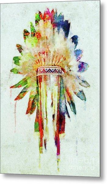Colorful Lakota Sioux Headdress Metal Print