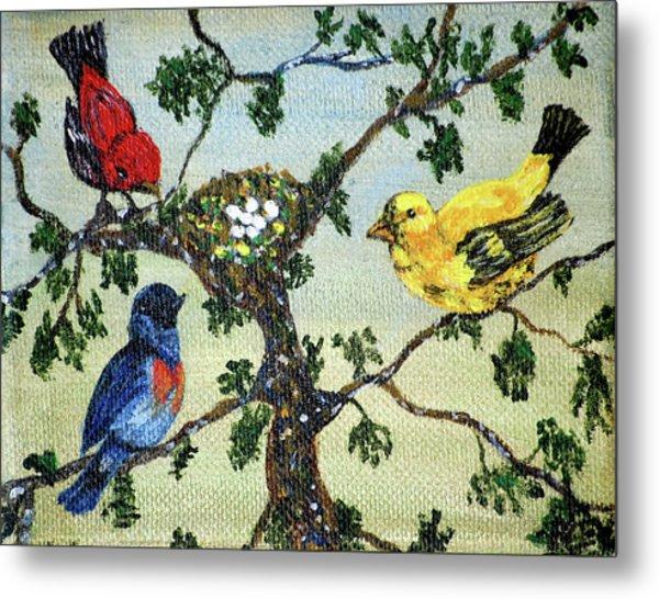 Colorful Nesting Birds Metal Print by Ann Ingham