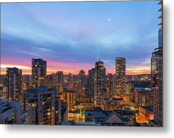 Condominium Buildings In Downtown Vancouver Bc At Sunrise Metal Print