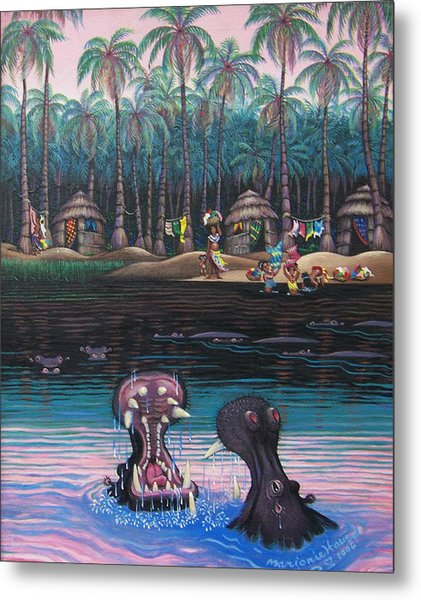 Congo Wash Day Metal Print by Marjorie Hause