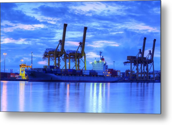 Container Cargo Freight Ship With Working Crane Bridge In Shipya Metal Print