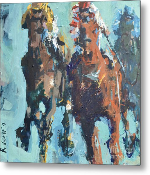 Contemporary Horse Racing Painting Metal Print