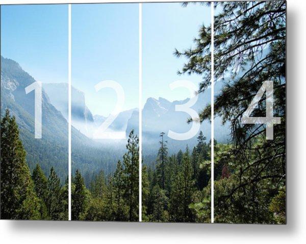 Controlled Burn Of Yosemite Panoramic Map Metal Print