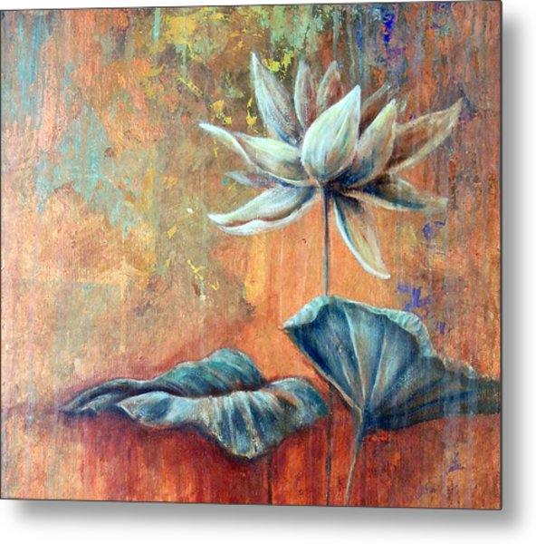 Copper Lotus Metal Print