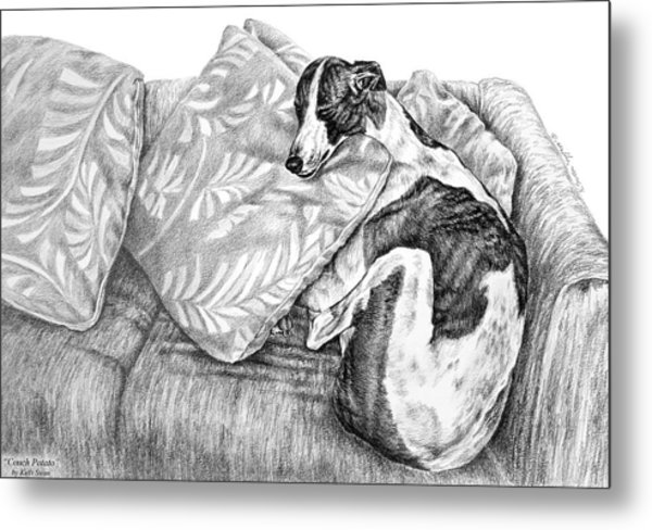 Couch Potato Greyhound Dog Print Metal Print
