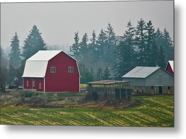 Countryside Red Barn Metal Print by Liz Santie