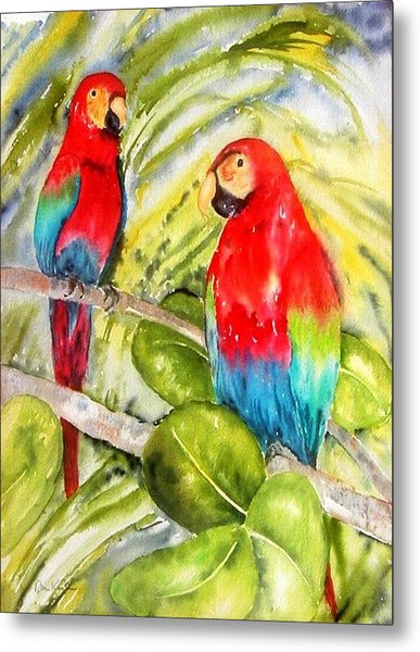 Crimson Macaws Metal Print
