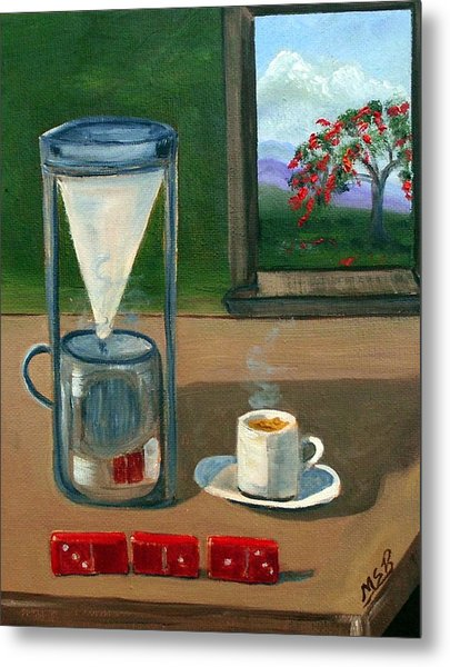 Cuban Coffee Dominos And Royal Poinciana Metal Print by Maria Soto Robbins
