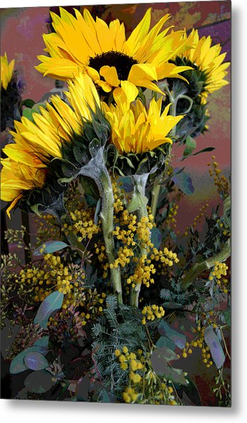 Cuddling Sunflowers Metal Print