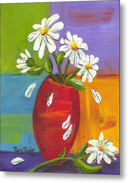 Daisies In A Red Vase Metal Print