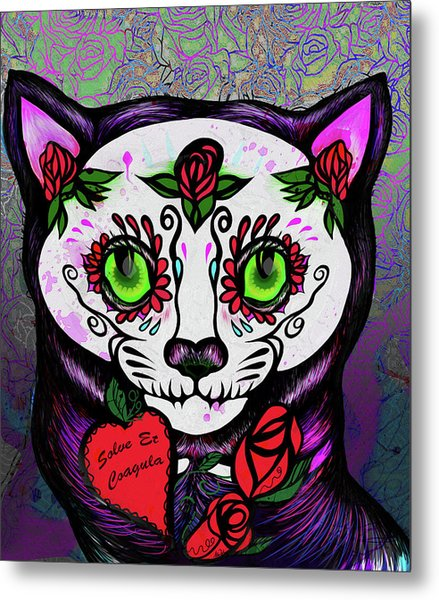 Day Of The Dead Cat Metal Print