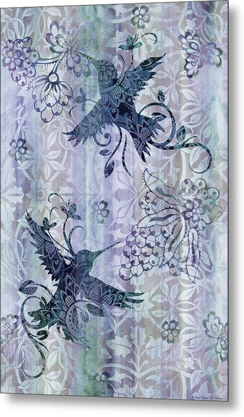 Deco Hummingbird Blue Metal Print
