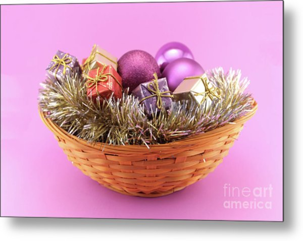 Decorative Christmas Basket On Pink Background Metal Print