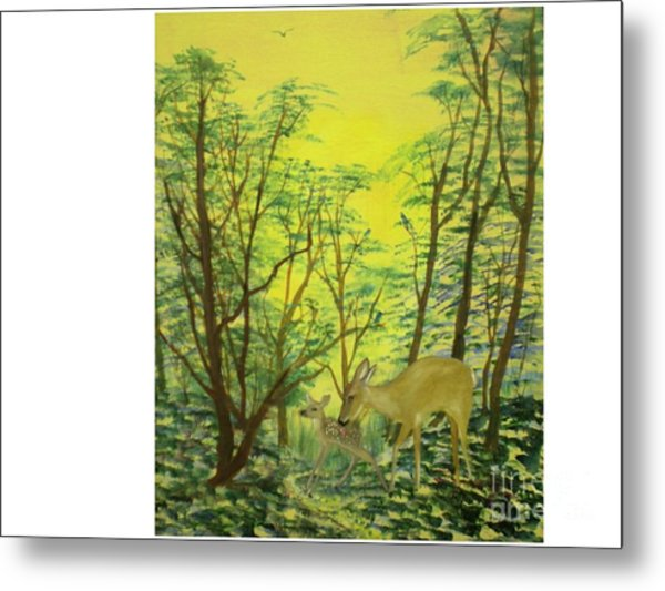 Deer With Fawn Metal Print by Hal Newhouser