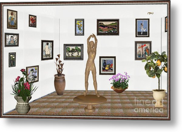 digital exhibition _ Statue of a Statue 23 of posing lady  Metal Print