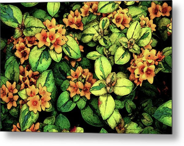 Digital Painting Quilted Garden Flowers 2563 Dp_2 Metal Print