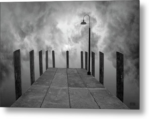 Dock And Clouds Metal Print