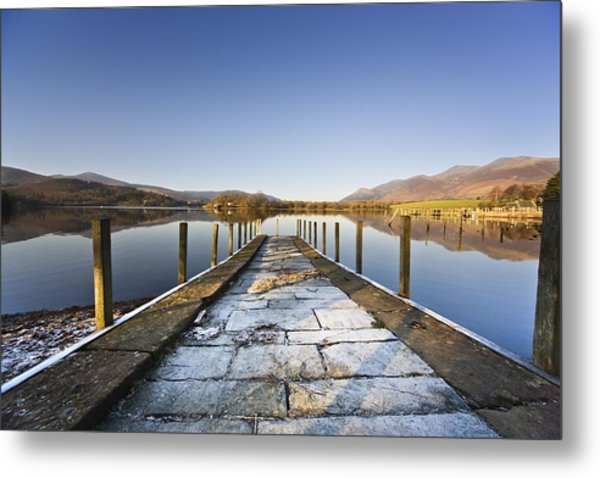 Dock In A Lake, Cumbria, England Metal Print