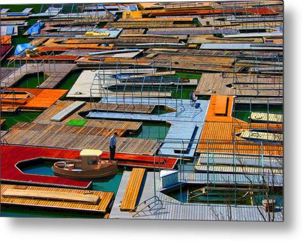 Docks In A Row Metal Print