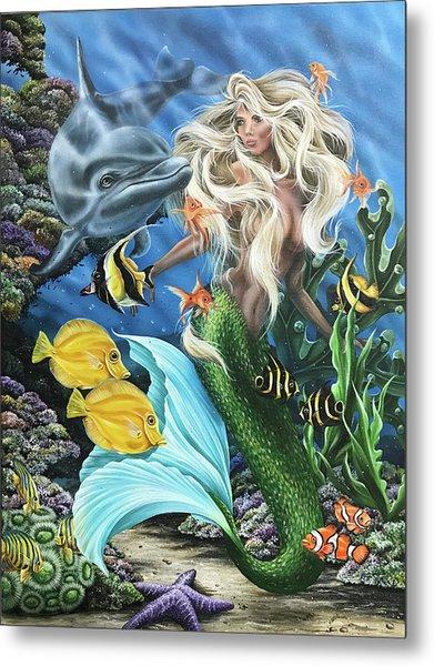 Dolphin Mermaid Metal Print