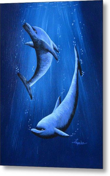 Dolphins Metal Print by Roberta Landers