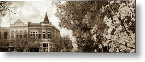 Downtown Fayetteville Arkansas Skyline Panorama - Sepia Metal Print
