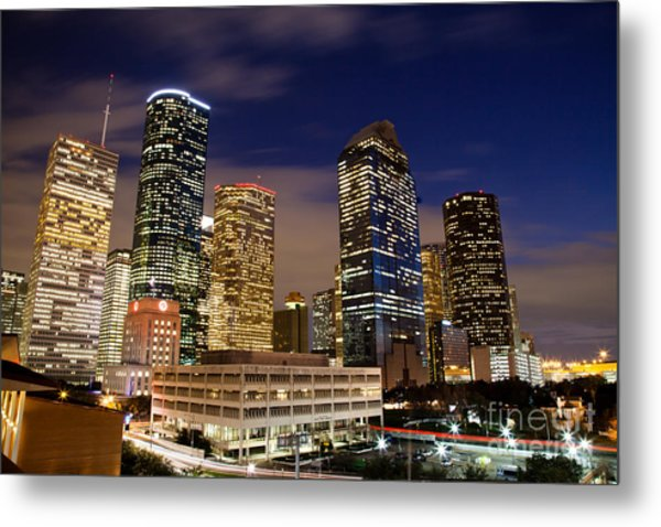 Downtown Houston At Night Metal Print