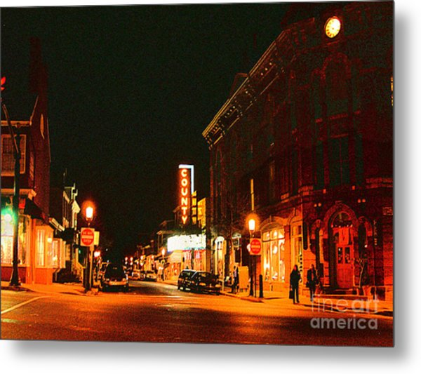 Doylestown-county Theater At Night Metal Print by Addie Hocynec