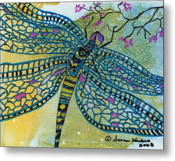 Dragonfly And Cherry Blossoms Metal Print by Susan Kubes
