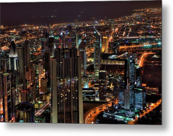 Dubai At Night Metal Print