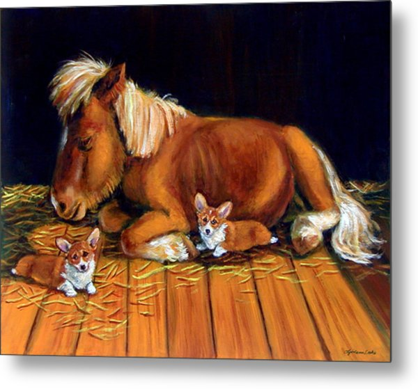 Dusk In The Barn - Pembroke Welsh Corgi Metal Print