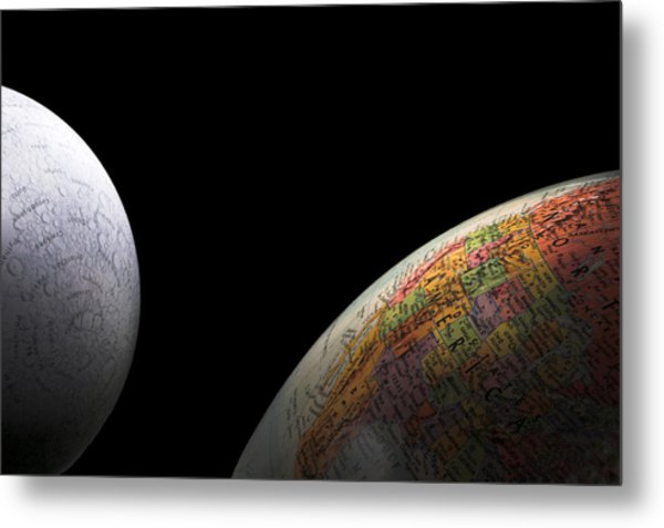 Earth And Moon Metal Print by Rob Byron