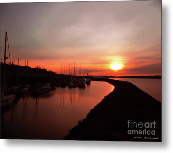 Edmonds Washington Boat Marina At Sunset Metal Print