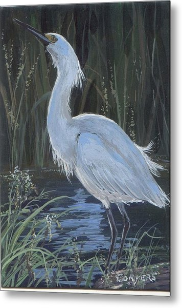 Egret Metal Print by Peggy Conyers