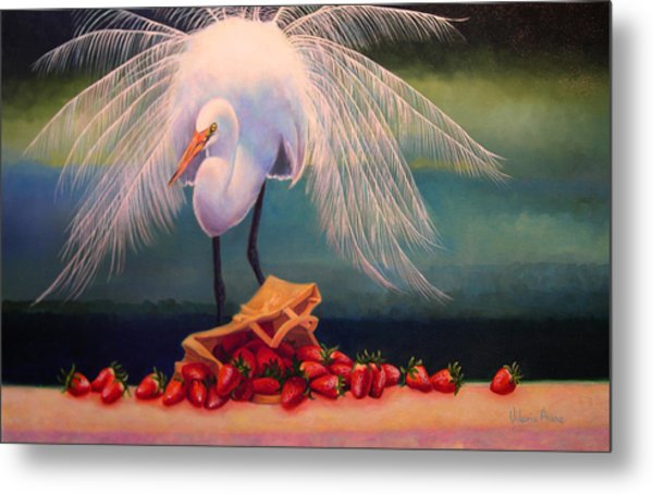 Egret With Strawberry Bag Metal Print by Valerie Aune