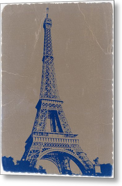 Eiffel Tower Blue Metal Print