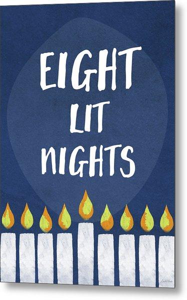 Eight Lit Nights- Hanukkah Art By Linda Woods Metal Print