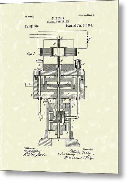 Electric Generator 1894 Patent Art Metal Print