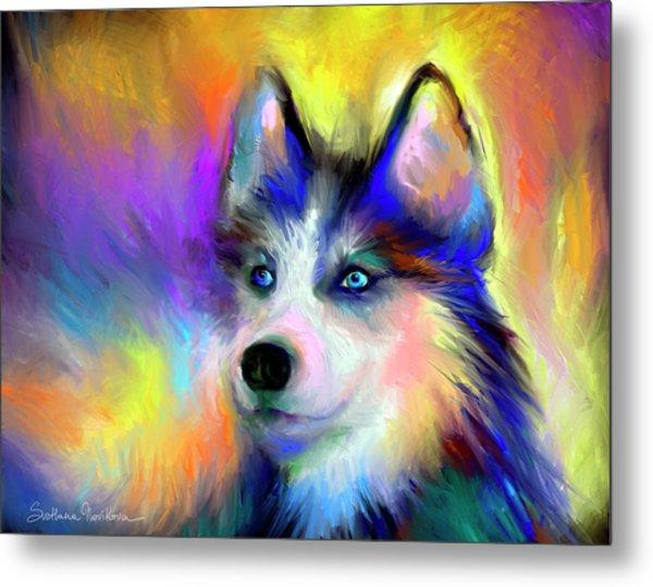 Electric Siberian Husky Dog Painting Metal Print