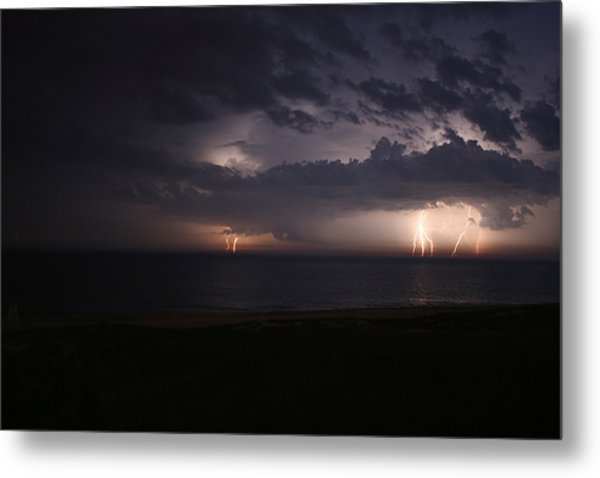 Electrical Storm Over Lake Michigan Metal Print by Christopher Purcell