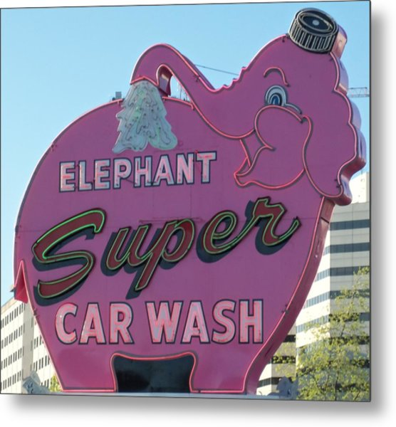 Elephant Super Car Wash Metal Print