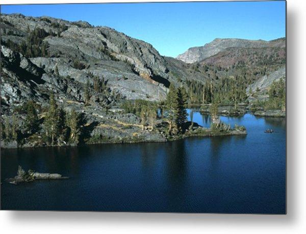 Emerald Lake Island Mountains Metal Print