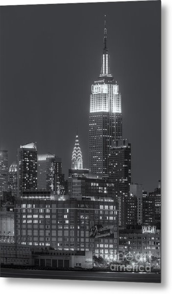 Empire State And Chrysler Buildings At Twilight II Metal Print