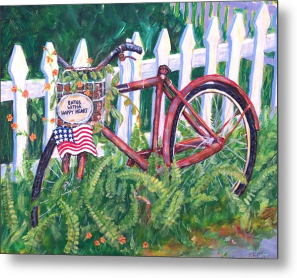 Enter With A Happy Heart Metal Print by Ruth Mabee