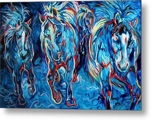 Equine Abstract Blue Four By M Baldwin Metal Print by Marcia Baldwin