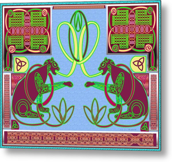 Eternal Celtic Cats Metal Print by Mike Sexton