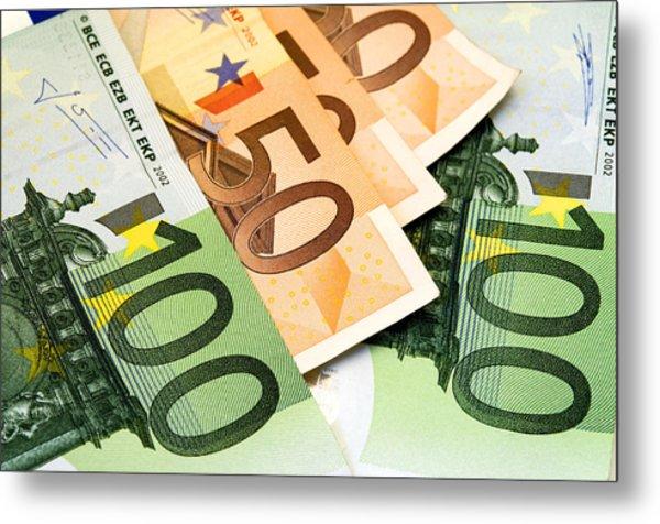 Euro Banknotes Metal Print