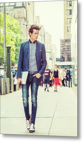 European College Student Studying In New York Metal Print