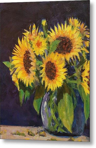 Evening Table Sun Flowers Metal Print